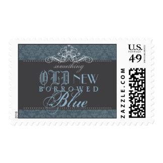 Algo franqueo nupcial elegante azul de la ducha