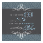 Algo invitación nupcial elegante azul de la ducha