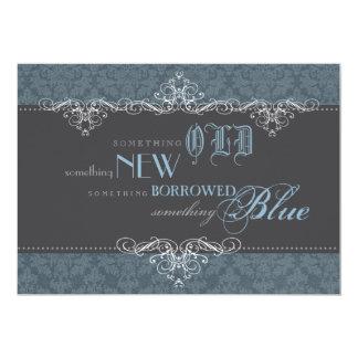 Algo invitación nupcial elegante azul de la ducha invitación 12,7 x 17,8 cm
