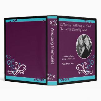 "Algo libro púrpura azul de la memoria del boda de  carpeta 1"""