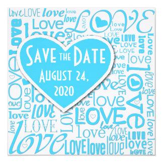 """Algo reserva azul el amor y los corazones de la invitación 5.25"""" x 5.25"""""""