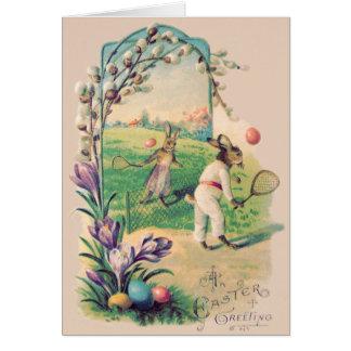 Algodón coloreado del tenis del huevo del conejito tarjeta de felicitación