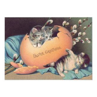 """Algodón coloreado Pascua del huevo del gatito del Invitación 5"""" X 7"""""""