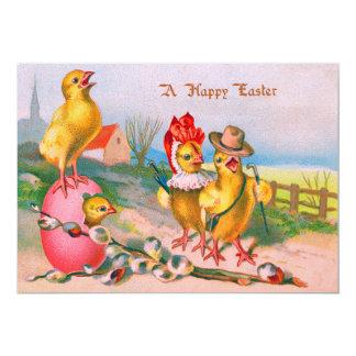 """Algodón coloreado polluelo del huevo de Pascua Invitación 5"""" X 7"""""""