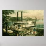 Algodón en el Mississippi, 1870 del cargamento Póster