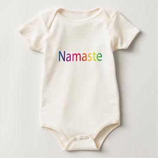 Algodón orgánico Onsie de Namaste del arco iris Mamelucos