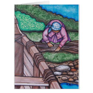 Algonquin Woman Gathering for Canoe Making Card