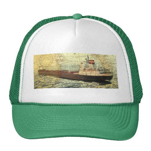 Algontario ship and old chart trucker hat
