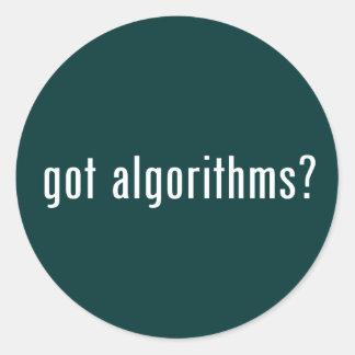 ¿algoritmos conseguidos? pegatina redonda