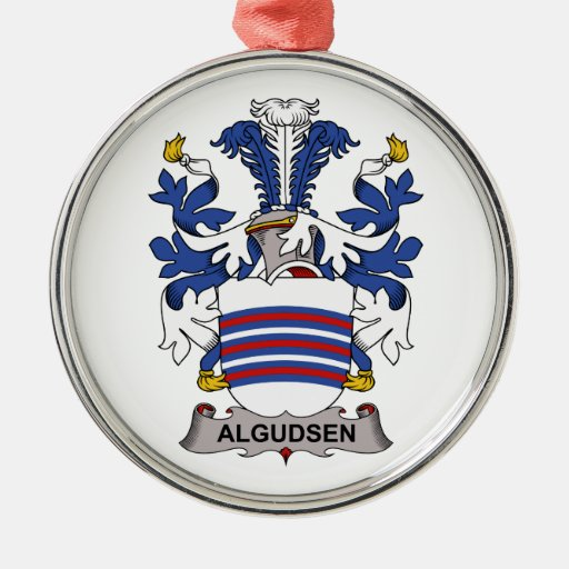 Algudsen Family Crest Round Metal Christmas Ornament
