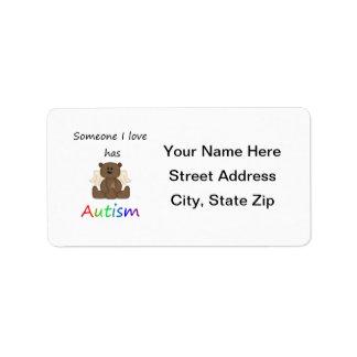 Alguien amor de I tiene autismo (el oso del muchac Etiqueta De Dirección