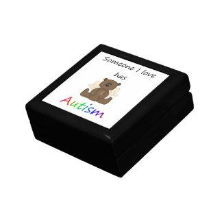 Alguien amor de I tiene autismo el oso del muchac Caja De Recuerdo