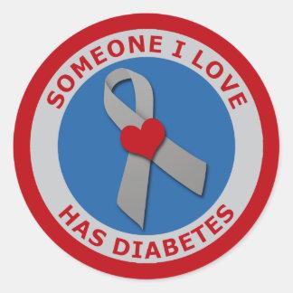 Alguien amor de I tiene diabetes Pegatina Redonda