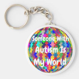 Alguien con autismo es mi mundo llavero redondo tipo pin