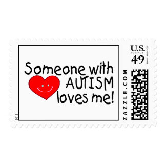 Alguien con autismo me ama estampilla