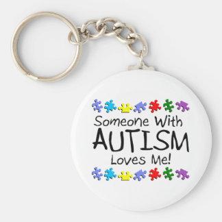 Alguien con autismo me ama llavero redondo tipo pin