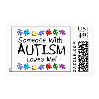 Alguien con autismo me ama timbre postal