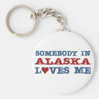 Alguien en Alaska me ama Llavero Redondo Tipo Pin
