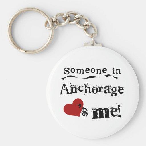 Alguien en Anchorage Llavero Redondo Tipo Pin