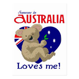 Alguien en Australia me ama koala Tarjeta Postal
