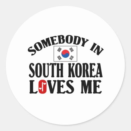 Alguien en Corea del Sur me ama Pegatina Redonda
