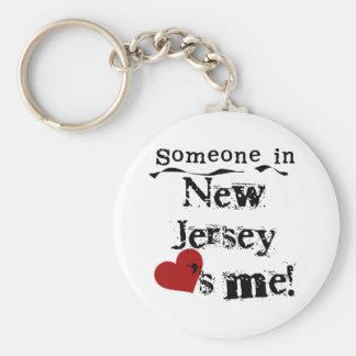 Alguien en New Jersey me ama Llavero Redondo Tipo Pin