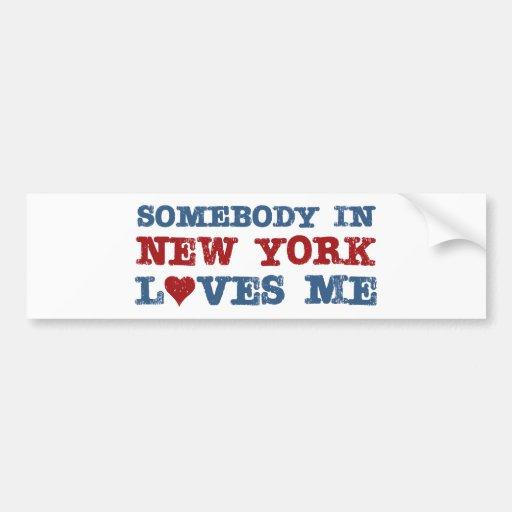 Alguien en Nueva York me ama Pegatina De Parachoque