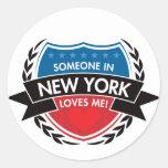 Alguien en Nueva York me ama Pegatina Redonda