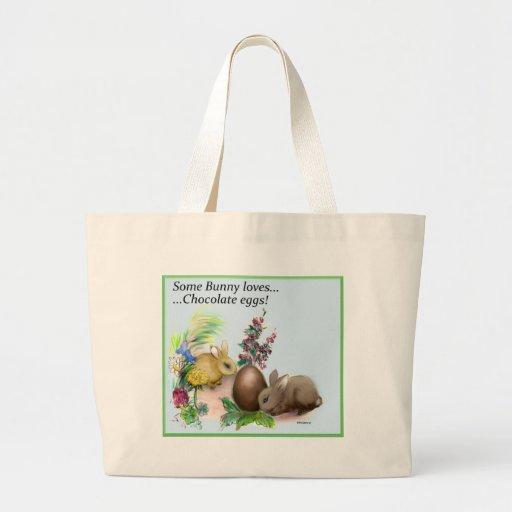 algún conejito ama el huevo de chocolate bolsa tela grande