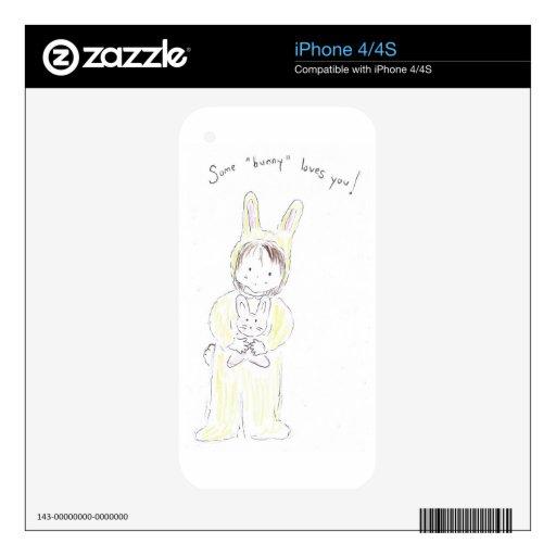 Algún conejito le ama calcomanías para iPhone 4