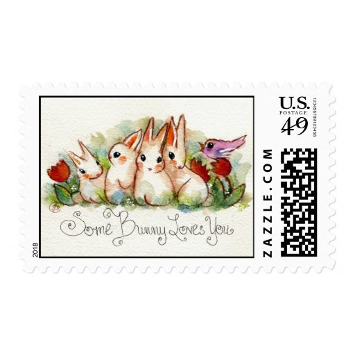 Algún conejito le ama timbre postal