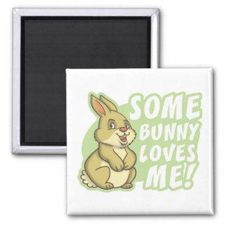 Algún conejito me ama Pascua Imán Cuadrado