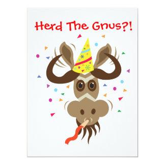 ¡Algún Gnu Stuff_Herd los Gnus?! Invitación 16,5 X 22,2 Cm
