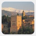 Alhambra; Granada; Andaslusia, España, Sierra Calcomanía Cuadradas