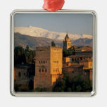 Alhambra; Granada; Andaslusia, Spain, Sierra Square Metal Christmas Ornament