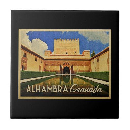 Alhambra Granada España Azulejo Cuadrado Pequeño