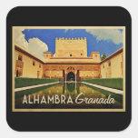 Alhambra Granada España Pegatina Cuadrada