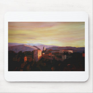 Alhambra Granada Spain with snow covered Mountains Mouse Pad