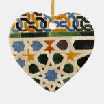 Alhambra Wall Tile #3 Double-Sided Heart Ceramic Christmas Ornament