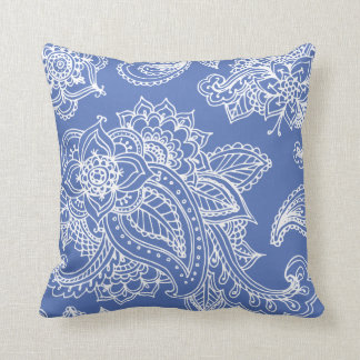 Alheña bohemia ilustrada azul de Paisley Cojín