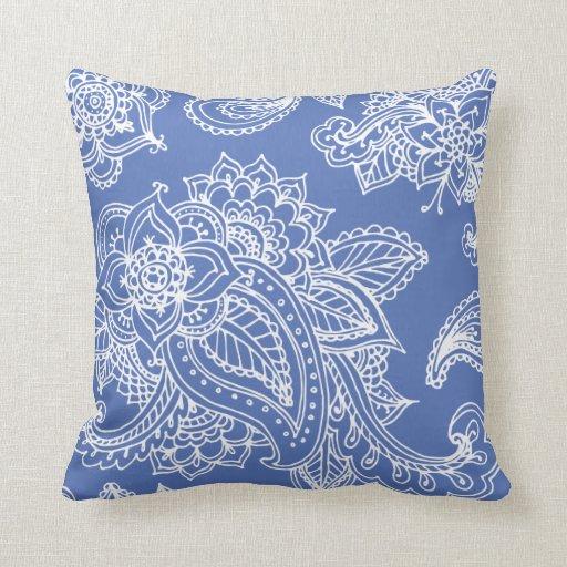 Alheña bohemia ilustrada azul de Paisley Cojin