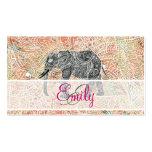 Alheña colorida del elefante tribal de Paisley del Tarjeta De Visita