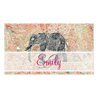 Alheña colorida del elefante tribal de Paisley del Tarjetas De Visita