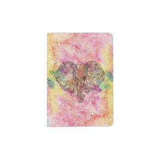 Alheña dibujada mano linda de la acuarela del porta pasaporte