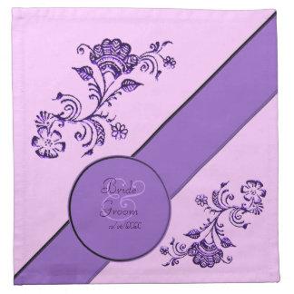 Alheña floral (ahorre la fecha) (la púrpura) servilletas imprimidas