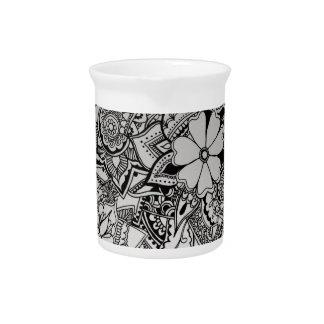 Alheña floral del manojo jarra de beber