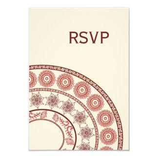 """Alheña india Mehendi que casa la tarjeta de RSVP Invitación 3.5"""" X 5"""""""
