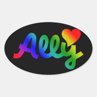 ALIADO de los derechos de los homosexuales Pegatinas Oval Personalizadas