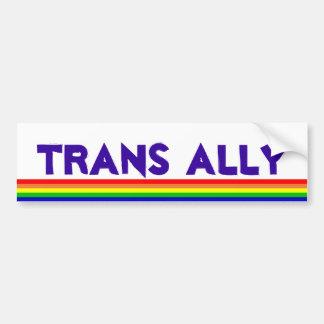 Aliado del transporte, arco iris etiqueta de parachoque