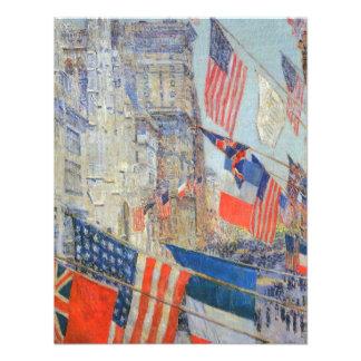 Aliados día mayo de 1917 Hassam impresionismo Invitacion Personal